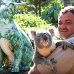 Artist Bruce Whittaker with his painted Hello Koala